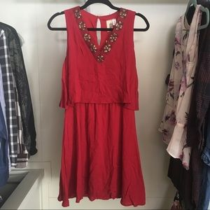 *NWT Lovely Red embellished dress from Francesca's